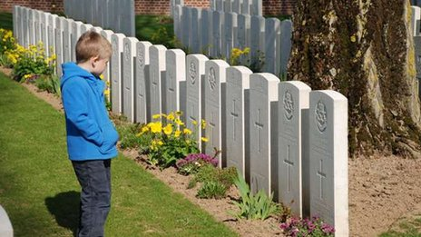 A child at HAC Cemetery, France