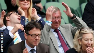 Sir Alex Ferguson reacts
