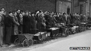 People queuing for coal