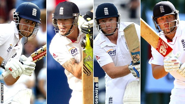 Alistair Cook, Kevin Pietersen, Ian Bell and Jonathan Trott