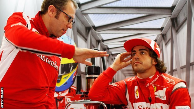 Stefano Domenicali (left) and Fernando Alonso