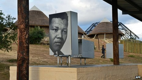 Picture of former South African President Nelson Mandela is displayed at Mvezo on 3 July 2013