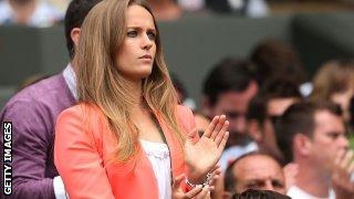 Kim Sears, Andy Murray's girlfriend, looks on