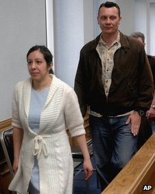 Leilani and Dale Neumann leave a Marathon County Circuit Courtroom in Wausau, Wisconsin 7 May 2008 file photo