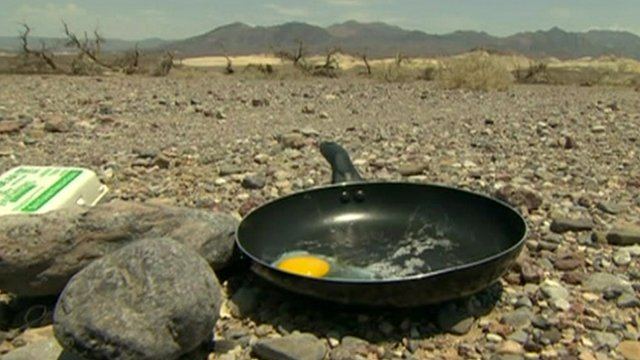 Frying pan with egg in Death Valley