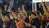 Newcastle Falcons celebrate winning the 2012-13 Championship play-offs