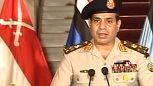 Gen Abdul Fattah al-Sisi makes the announcement