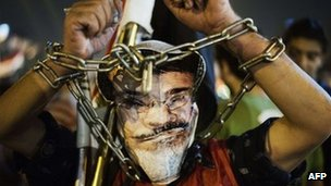 Protester wearing chains and a mask of Mohammed Morsi