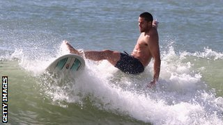 Sean Maitland surfing