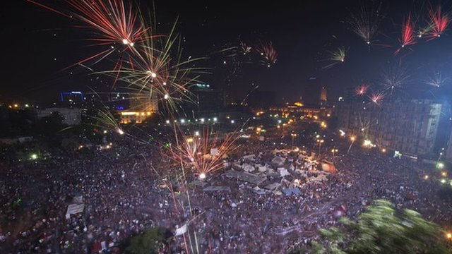Celebrations in Tahir Square after President Morsi was pushed out by the Egyptian Army.