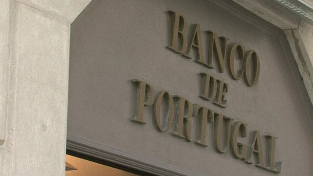 Bank sign in Portugal
