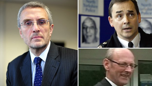 "Essex PCC Nick Alston (l) said payments to former Chief Constable Roger Baker (top right) were outside national guidelines. Robert Chambers (bottom left), who agreed the sums, said the bonus payments were ""within the law""."