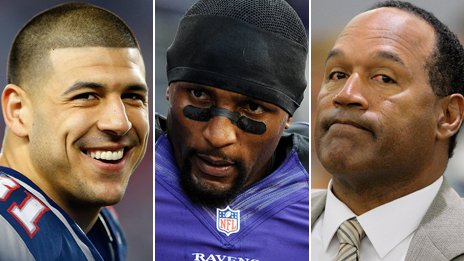 Aaron Hernandez, Ray Lewis, and OJ Simpson