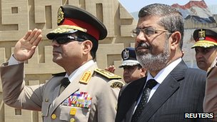 File photo of Egypt's President Morsi visiting the tomb of ex-President al-Sadat and the Tomb of the Unknown Soldier during the commemoration of Sinai Liberation Day in Cairo