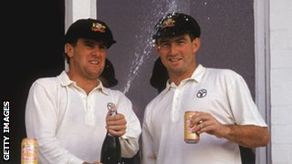 Mark Taylor and Geoff Marsh celebrate their 329 first-wicket stand
