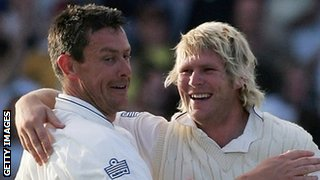 Ashley Giles and Matthew Hoggard celebrate England's win at Trent Bridge in 2005