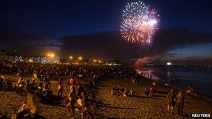 Fireworks for Independence Day are seen in Union Beach, New Jersey, on 3 July 2013