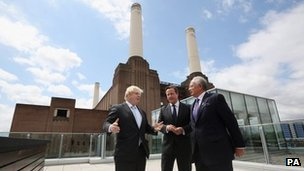 From left: Boris Johnson, David Cameron and Najib Razak