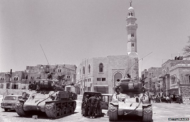 Two Israeli US-made Super Sherman tanks on patrol in 1967, just after the Six-Day War