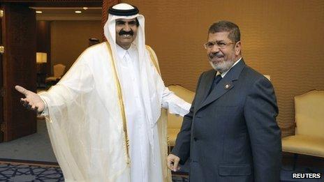 Former Qatari Emir Sheikh Hamad bin Khalifa Al Thani (left) and Mohammed Morsi (26/03/13)