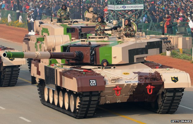 An Indian MBT Arjun MK-1 tank during rehearsals for the Indian Republic Day parade