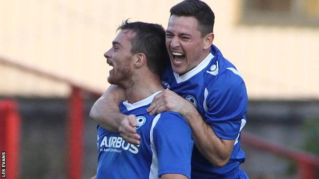 Airbus celebrate their goal against Ventspils