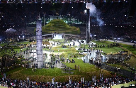 Scene from the London Olympics opening ceremony