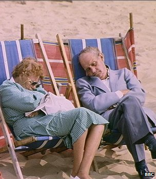 Couple snoozing in deckchairs (Image: BBC)
