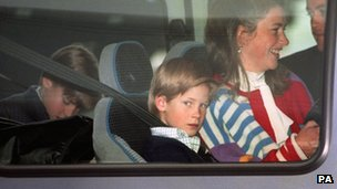 Princes William (left) and Harry arriving at Heathrow with Tiggy Legge-Bourke