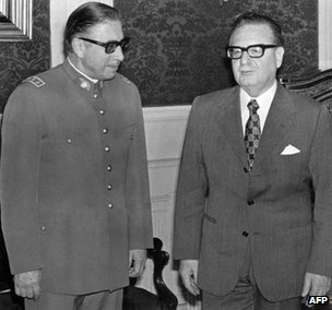Gen Pinochet and President Allende in 1973