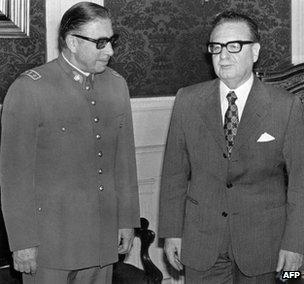 Gen Pinochet and President Allende in 1973