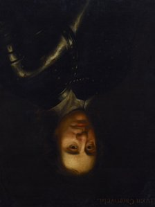Portrait of Oliver Cromwll (hung upside down)