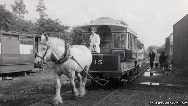 The first passenger carrying tram at Crich Tramway Village