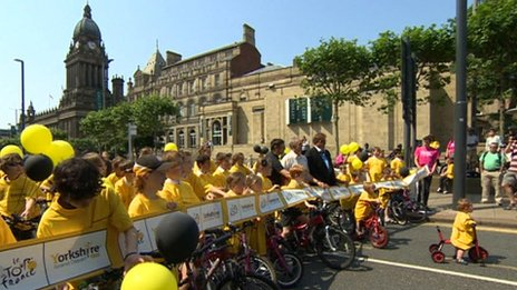 Children at future site of Grand Depart in Leeds