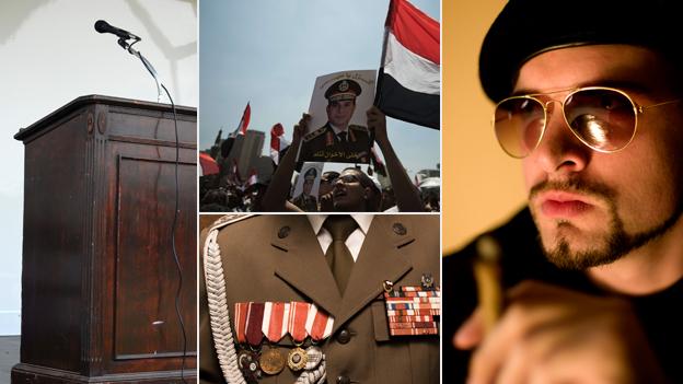 Podium, cheering crowds in Egypt, sunglasses, uniform