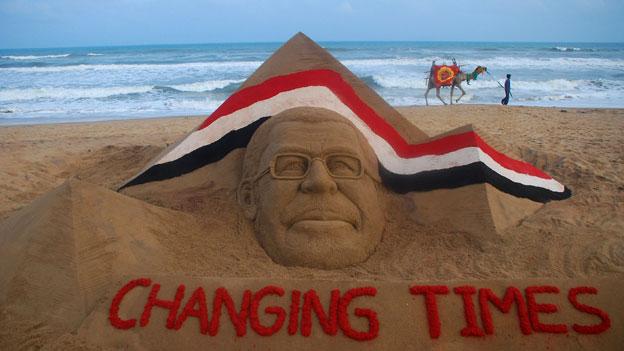 Morsi sand sculpture
