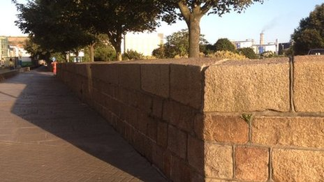 Wall surrounding the Esplanade Car Park