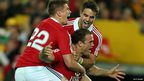Australia v British and Irish Lions third Test Jamie Roberts is congratulated by Owen Farrell (left) and Conor Murray