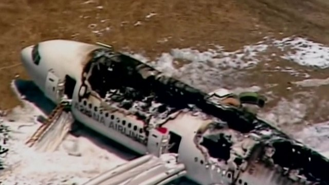 Aerial view of burnt-out interior of plane
