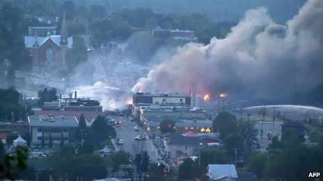 View of Lac-Megantic on 6 June