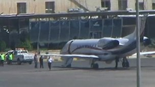 A private plane on the tarmac of an airport in Jordan