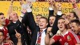 Lions celebrate winning the series