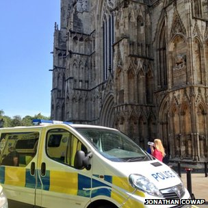 Police van outside York Minster