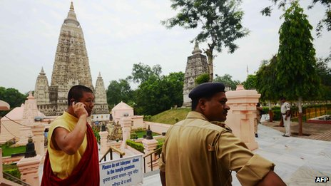 Scene outside Bodhgaya temple complex in Bihar after explosions (7 July)