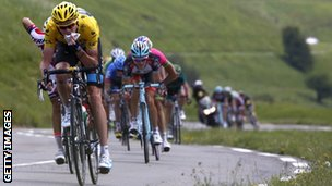 Team Sky's Chris Froome in yellow during stage nine