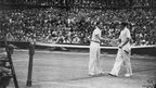 Britain's last Wimbledon champion was Fred Perry, who won the men's singles in 1936 against Germany's Gottfried von Cramm. Here the pair shake hands after Perry's victory.
