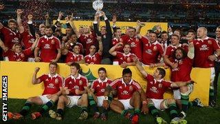 The British & Irish Lions celebrate their series win
