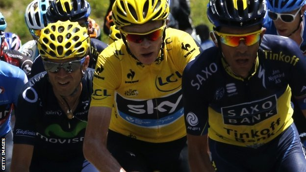 (l-r) Alejandro Valverde, Chris Froome and Alberto Contador