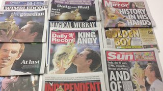 Newspapers reporting Andy Murray's Wimbledon win