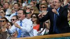Wayne Rooney, David Cameron and Alex Salmond watching the match.